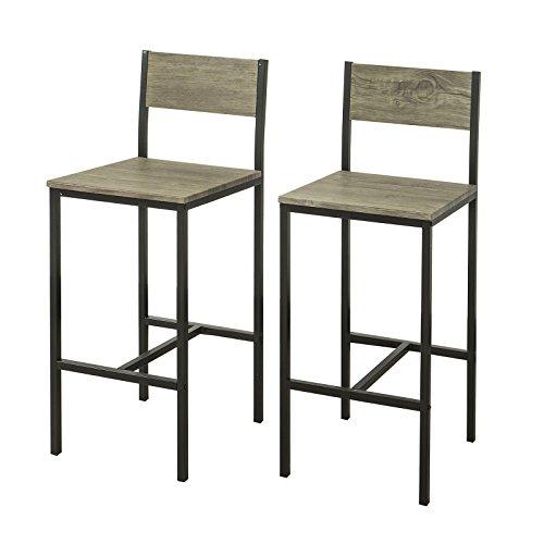 Sedie Sgabelli Cucina.Sobuy 2 X Sedie Metallo Da Bar Sgabelli Cucina Mobili Da Balcone Con Poggiapied Fst53x2