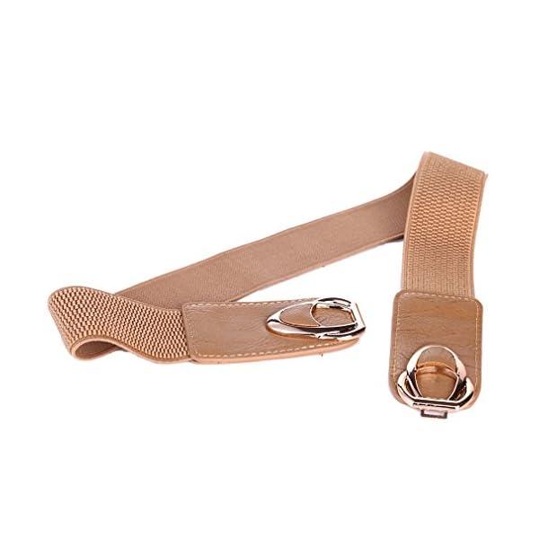 "Beltox Fine Womens Belt Elastic Stretch Cinch Waistband Ornament Lady Cummerband (26""-43"", Black and Khaki 2 Pack)"