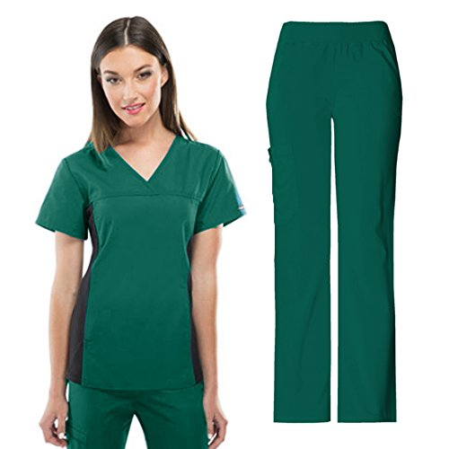 Cherokee Flexibles Women's 2874 V-Neck Knit Panel Top & 2085 Pull-on Pant Medical Uniform Scrub Set (Black - Large) (Hunter Green - Large)