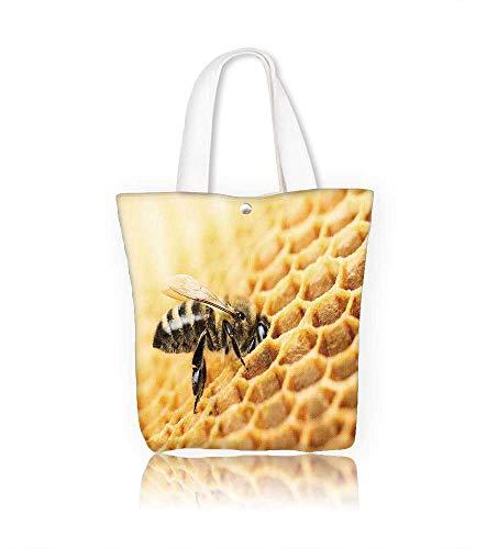 Reusable Cotton Canvas Zipper bag Working bee on