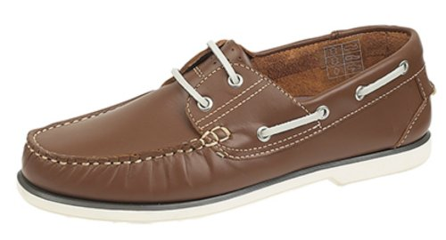 Brand New Mens Boys Leather Boat Shoes. Brown Or Blue Smooth Leather. White Soles. Brown ZxNvNanz
