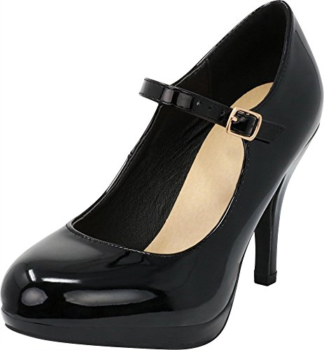 High Cambridge Pump Black Cushioned Dress Strap Women's Patent Select Heel Buckle Mary Anli Jane AwA8SvrP