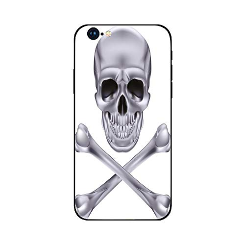 (Phone Case Compatible with iphone6 Plus iphone6s Plus mobile phone protecting shell Brandnew Tempered Glass Backplane,Silver,Vivid Skull and Crossbones Dangerous Scary Dead Skeleton Evil Face)