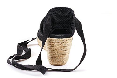 Viscata Escala 2.5 Zeppa, Morbido Cinturino Alla Caviglia, Punta Chiusa, Classico Espadrillas Tacco Made In Spagna Alluncinetto Nero