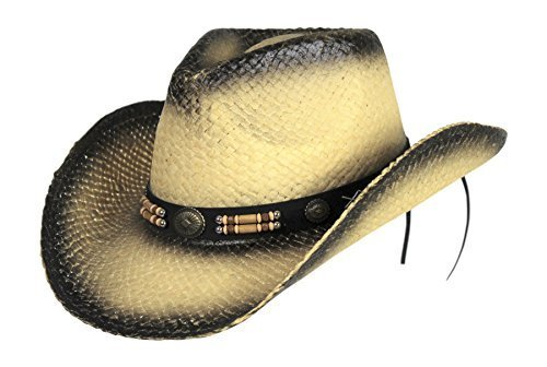 (Classic Outback Tea Stained Cowboy Hat w/ Beaded Band - Shapeable)