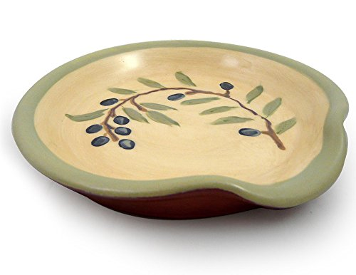 (American Made Terracotta Pottery Spoon Rest, Mediterranean Olive Branch)