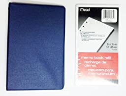Bundle - Mead Loose-leaf 6-ring Memo Book, 6-3/4 X 3-3/4, with 80 Sheets White Filler Paper (Blue)
