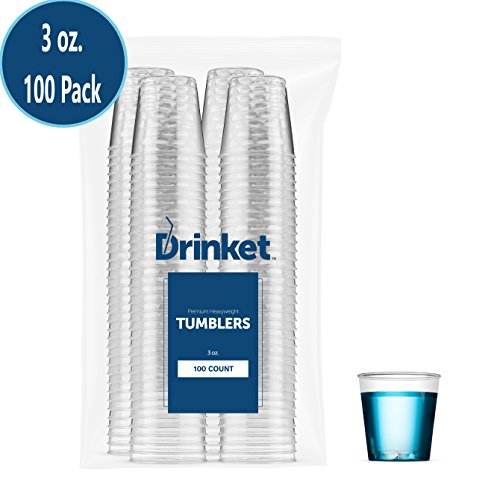 DRINKET Plastic Shot Glasses 3 oz Cups Disposable Mini Cups Hard Plastic Cups Round Clear For Champagne Whiskey Scotch Wine Beer Cocktail Dessert Cups Jello Shot Party Tumblers 100 Count Bulk Pack - 3 Ounce Shot Glasses