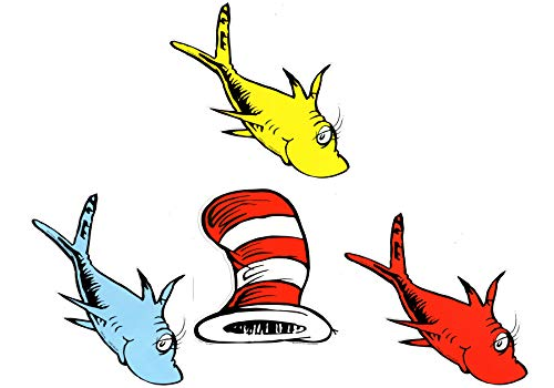 Eureka Back to School Dr. Seuss Cat in The Hat and One Fish, Two Fish Paper Cut Out Classroom Decorations 72 pc Bundle