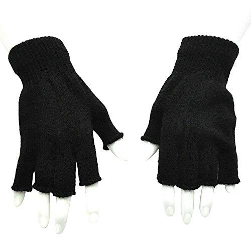 Euone  Gloves, Woman Men Gloves Mitten Fingerless Knitted Crochet Half-Fingers Adult Warm Winter Gloves (Black)
