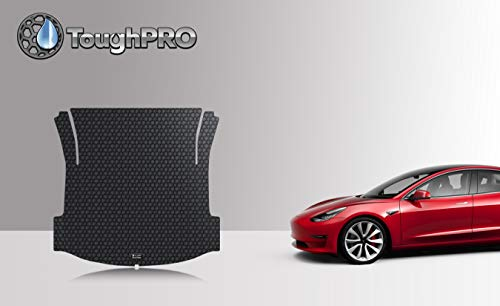 - ToughPRO Cargo/Trunk Mat Compatible with Tesla Model 3 - All Weather - Heavy Duty - (Made in USA) - Black Rubber - 2017, 2018, 2019
