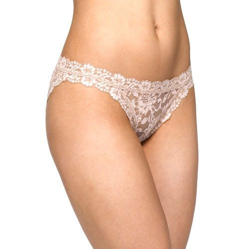 Hanky Panky Cross Dyed Signature Lace Hip-Kini Panty (592104) L/Taupe-Vanilla