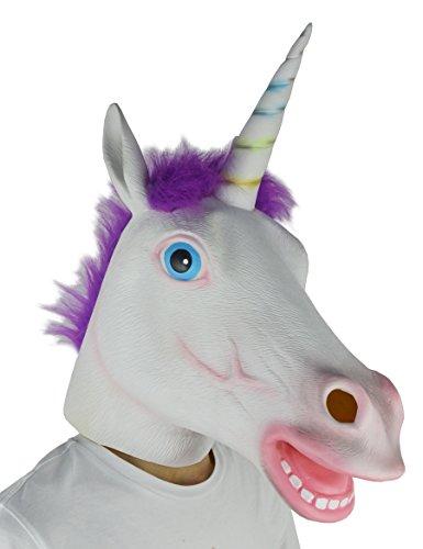 LarpGears Deluxe Novelty Halloween Costume Latex Unicorn Animal Mask Purple Hair Adult (Unicorn Halloween Mask)