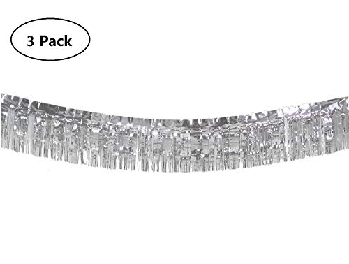 10 Feet Long Roll Metallic Fringe Garland (Set of 3) Silver Tassel Foil Banner - Party Supplies for Parade Floats, Fiesta Backdrop, Patriotic Decorations, Wedding, Birthday (Silver)