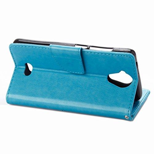 Custodia Wiko U Feel Lite Cover Case, Ougger Fiore Farfalla Portafoglio PU Pelle Magnetico Stand Morbido Silicone Flip Bumper Protettivo Gomma Shell Borsa Custodie con Slot per Schede (Azzurro)