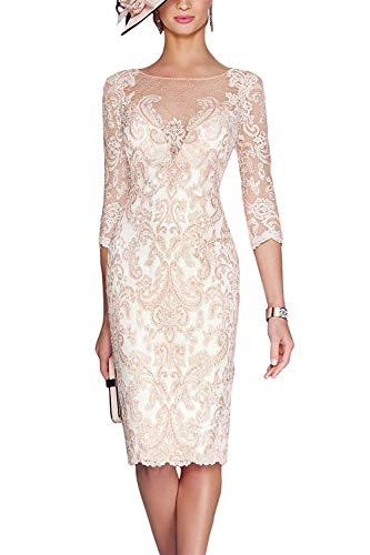 Bridal Lace Jacket - Newdeve Women's Mother of The Bride Dresses with Lace Jacket Short for Wedding Light Pink