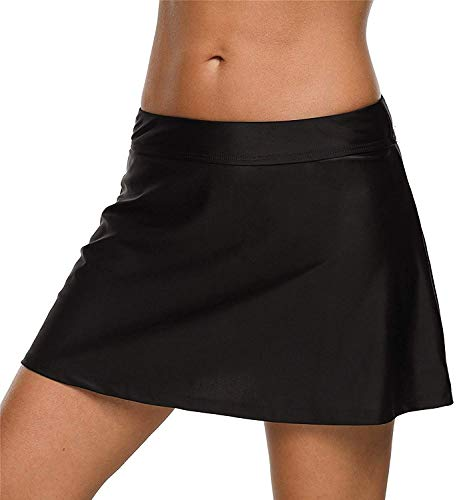 CharmLeaks Womens Skirted Swimsuit Bottoms Bathing Suit Skirt with Brief Black L