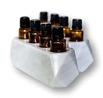Diamond Set of Stone Essential Oil Holders-100 Stone and Handmade-Decorative Display Case Box Organizer-Set of 2 Pieces, Holds 4, 15ml Bottles Each Grey Marble