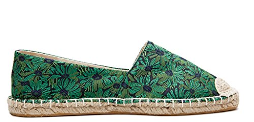 Shoes Printed Espadrilles Greendaisy Jacquard Floral On Loafers Slip Women U lite Flats wqBaOnq0x