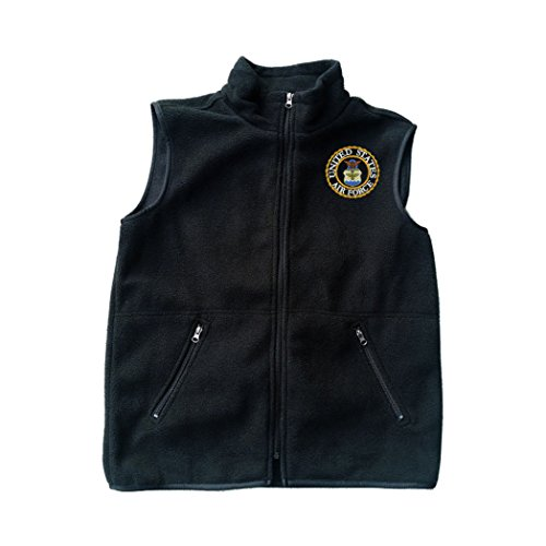 Military USAF U.S. Air Force Logo Black Fleece Zipped Vest with Pocket 2XL (Ontario Spec Plus Air Force Survival Knife)