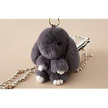 Rex rabbit Fur Leather Rabbit Fur Pendant for Womens Bag or Car Pendant (Dark Gray)