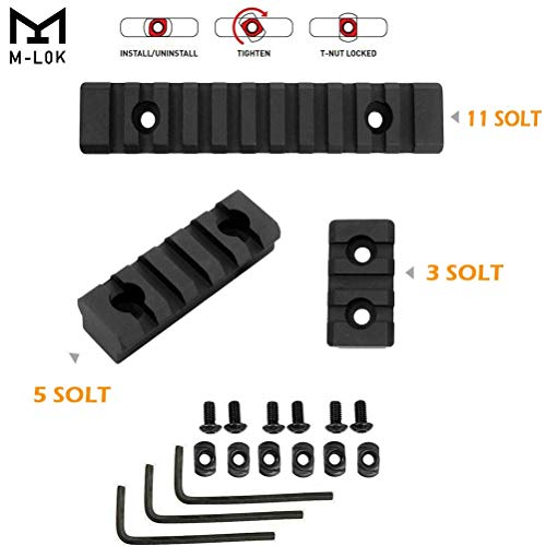 Tebul M-Lok Rail 3 Slot 5 Slot 11 Slot Lightweight Aluminum Rail Section Accessories for M LOK System Rail Accessories