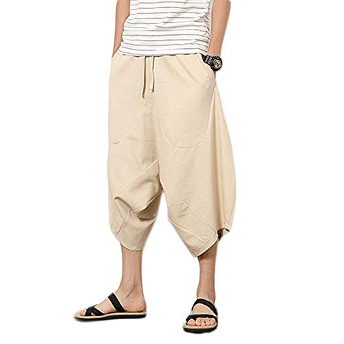 La Moda Color Ancha Playa Con Verano Harén De Cómodo Braun Flojos Harem Cortos Hombres Del Los Sólido Pierna Pantalones Ocasionales Hippie nqT1xX