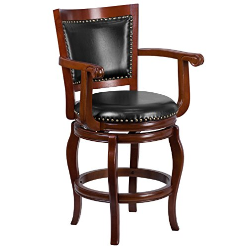 - Flash Furniture 26'' High Cherry Wood Counter Height Stool with Black Leather Swivel Seat