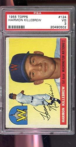 1955 Topps #124 Harmon Killebrew ROOKIE RC MLB PSA 3 Graded Baseball Card