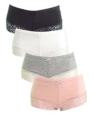 Emprella Womens Boyshort Panties With Lace Bottom (3-Pack)