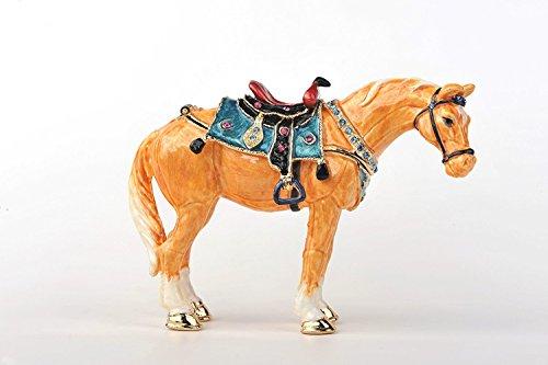 Keren Kopal Decorated Swarovski Golden Horse Trinket Box