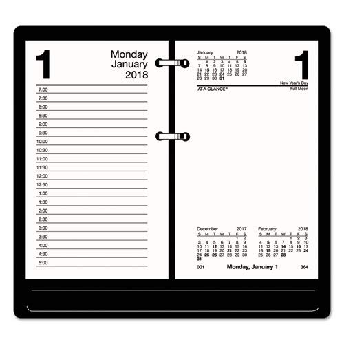 AT-A-GLANCE Products - AT-A-GLANCE - One-Color Daily Desk Calendar Refill, Recycled Paper, 3-1/2w x 6h - Sold As 1 Each - Half-hour appointment ruling on left page for workweek. - Right page of workweek unruled for freestyle daily notations. -