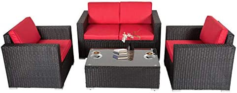 Kinbor Patio Set 4 Piece Outdoor Furniture PE Rattan Conversation Sofa