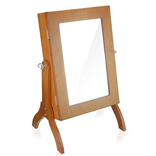 Honey Oak Organizer - Geff House Wood Mirror Jewelry Cabinet Organizer (Honey Oak)