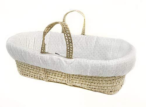 Tadpoles Moses Basket & Bedding Set, Eyelet, White, - Partners Basket Moses Sleeping