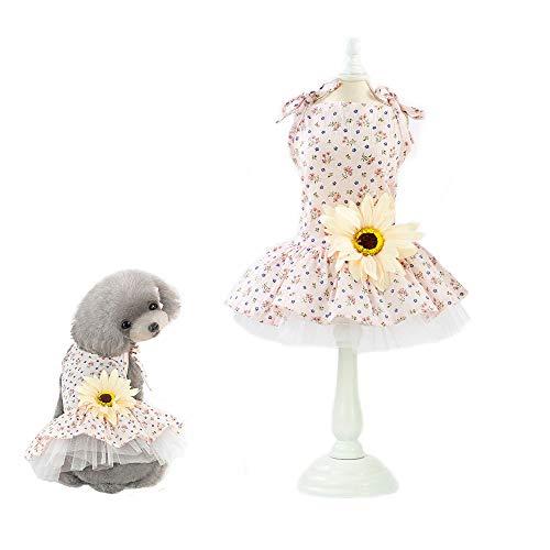 Mummumi Pet Princess Skirt, Fashion Dog Daisy Flower Tutu Dress Wedding Skirt Outfit Clothes Soft Cotton Costume for Puppy Small Dogs