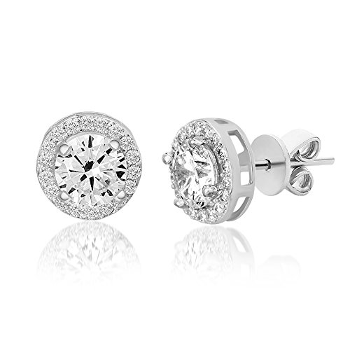 Devin Rose Round Halo Stud Earrings for Women Made With Clear Swarovski Crystal in Sterling Silver (Crystal Imitation April Birthstone) (Crystal Earrings Swarovski Clear)