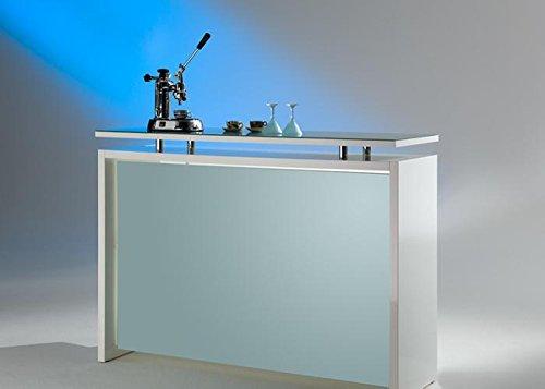 Theke Starlight MS Schuon Hochglanz Weiss Milchglas Weiß Glas Holz