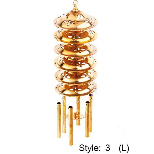 in/Outdoors Wind Chimes Copper Wind Chime Hanging Wind Chimes Metal Wind Chime Hanging Door Decoration Home Wind Chime Creative Copper Wind Chime Home Garden Wind Chimes (Color : Style 3, Size : L)