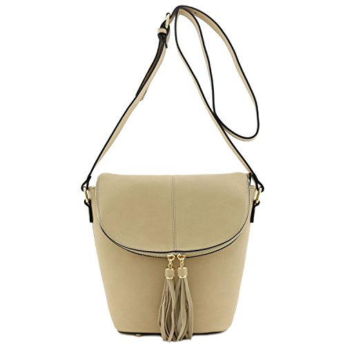Light with Bag Tassel Bucket Crossbody Top Accent Taupe Flap zxqwaF0Tq