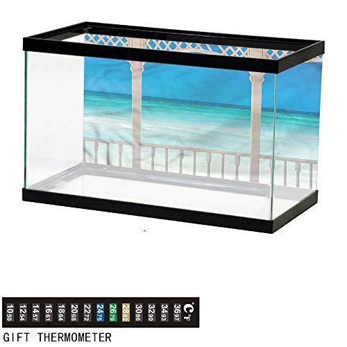 bybyhome Fish Tank Backdrop Beach Theme,Coastal Theme Maldives,Aquarium Background,36