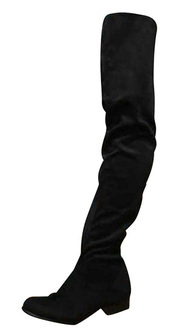 Erogance Low Blockabsatz Stiefel Kunstwildleder Overknees - Botas para mujer Negro