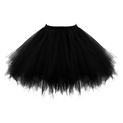 [Topdress Women's 1950s Vintage Tutu Petticoat Ballet Bubble Skirt (26 Colors) Black L/XL] (Plus Size Tutu Skirt)