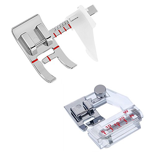 1 PCS Adjustable Guide Sewing Machine Presser Foot and 1 PCS Snap-on Adjustable Bias Binder Foot Fit for Most Low Shank Sewing Machines by Stormshopping