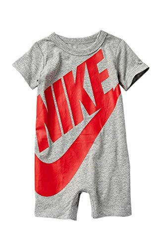 NIKE Baby Boy Infant Shortall (Dark Grey Heather (56D369-042)/University Red, 3-6 Months)