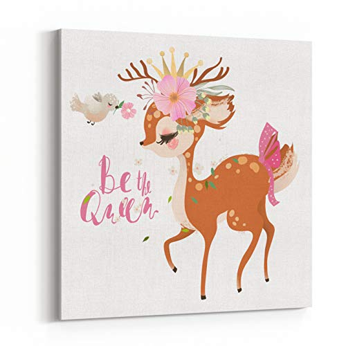 Rosenberry Rooms Canvas Wall Art Prints - Cute, Romantic, Dreaming Baby Princess, Deer, Fawn with Floral Wreath, Crown, Bird and Flowers Bouquet (12 x 12 inches)