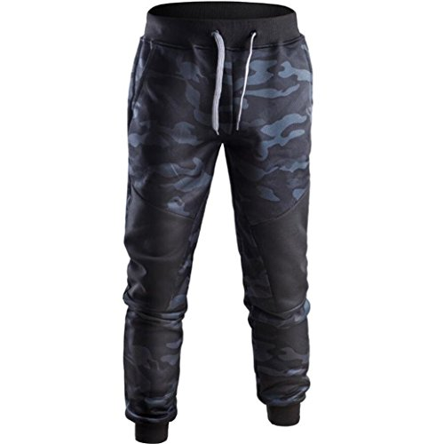 (Men Pants Daoroka Men's Casual Camouflage Long Patchwork Jogger Gym Athletic Running Sports Trousers Sweatpants (M, Navy))