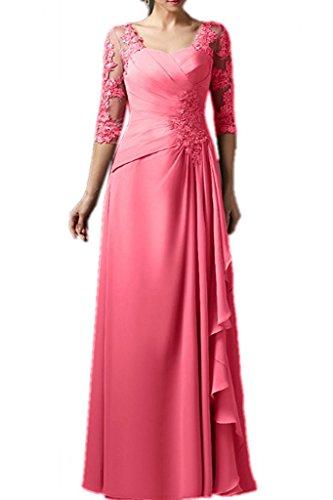 La Spitze Marie Chiffon Brautmutterkleider Abendkleider Wassermelon Langarm Braut Rock Partykleider Blau A Linie rwfqXA4r