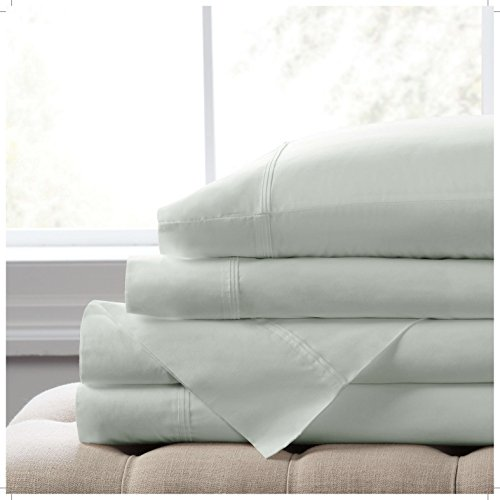 """Elizabeth Arden Light-Weight 100% Long-Staple Cotton Percale 4-Piece Sheet Set - Natural Pure 300 Thread Count – Crisp & Cool – Deep Fitted Pocket Fits Mattress up to 18"""" - Full - Sage by Elizabeth Arden THE SPA COLLECTION"""