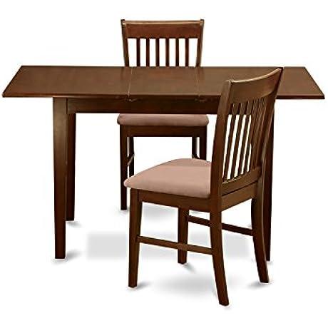 East West Furniture NOFK3 MAH C 3 Piece Dinette Table Set